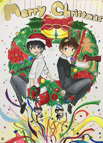 恒例の美術部・漫画研究部合同 クリスマスイラスト発表会開催