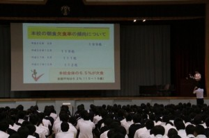 全校朝礼&食育指導 (2)