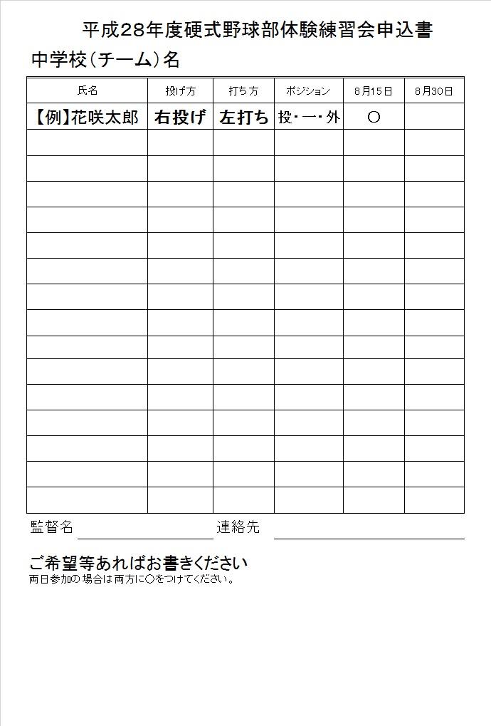 平成28年度 中学生体験練習会の開催について(硬式野球部)