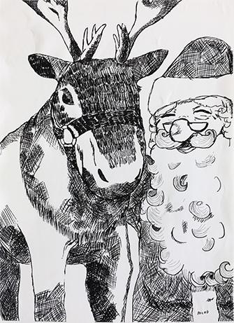 恒例の漫画研究部・美術部合同 クリスマスイラスト発表会開催